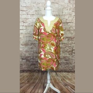 Milly New York Dress 4 Short Sleeve Paisley Silk